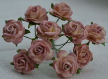 1.5cm DARK DUSKY PINK Mulberry Paper Roses